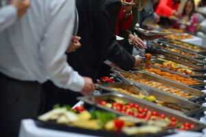 people group catering buffet food indoor in luxury restaurant with meat colorful fruits  and vegetables-1